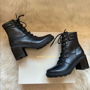 New! MARC FISHER Laboni Leather Combat Boots